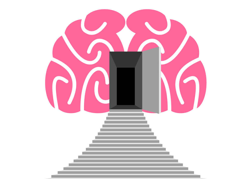 stairway leading to a door inside the brain