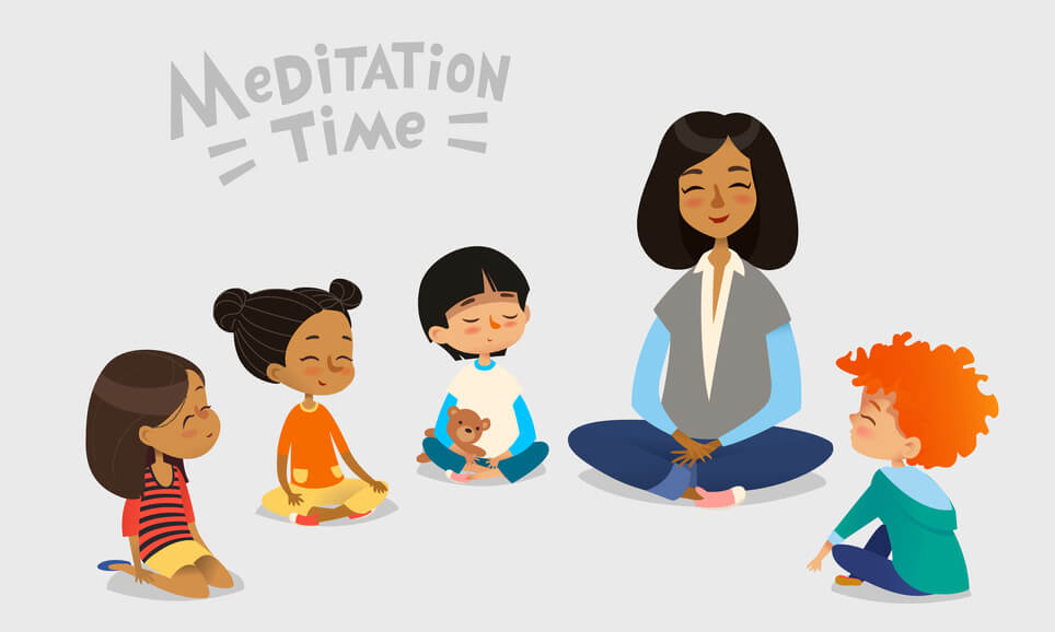 kids doing meditation