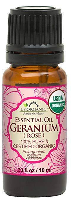 bottle of us organic geranium essential oil