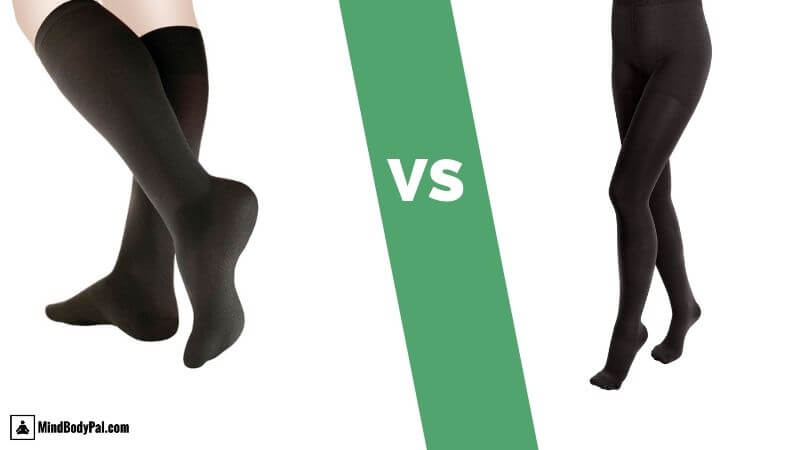 black compression tights vs black compression socks